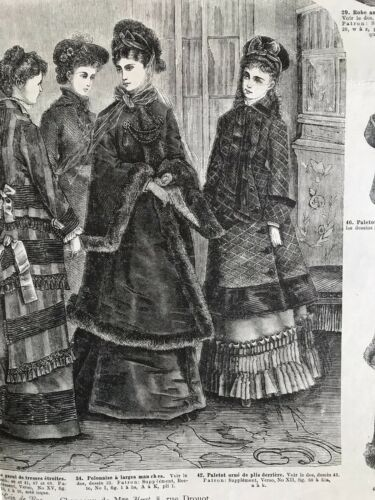 Rare 1870/'s sewing patterns tracings MODE UNIVERSELLE  Nov 16,1875