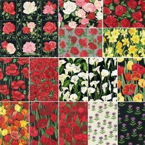 Nutex-Hermoso-Ramo-Floral-Flor-Colecciones-De-Tela-Patchwork-Algodon-100