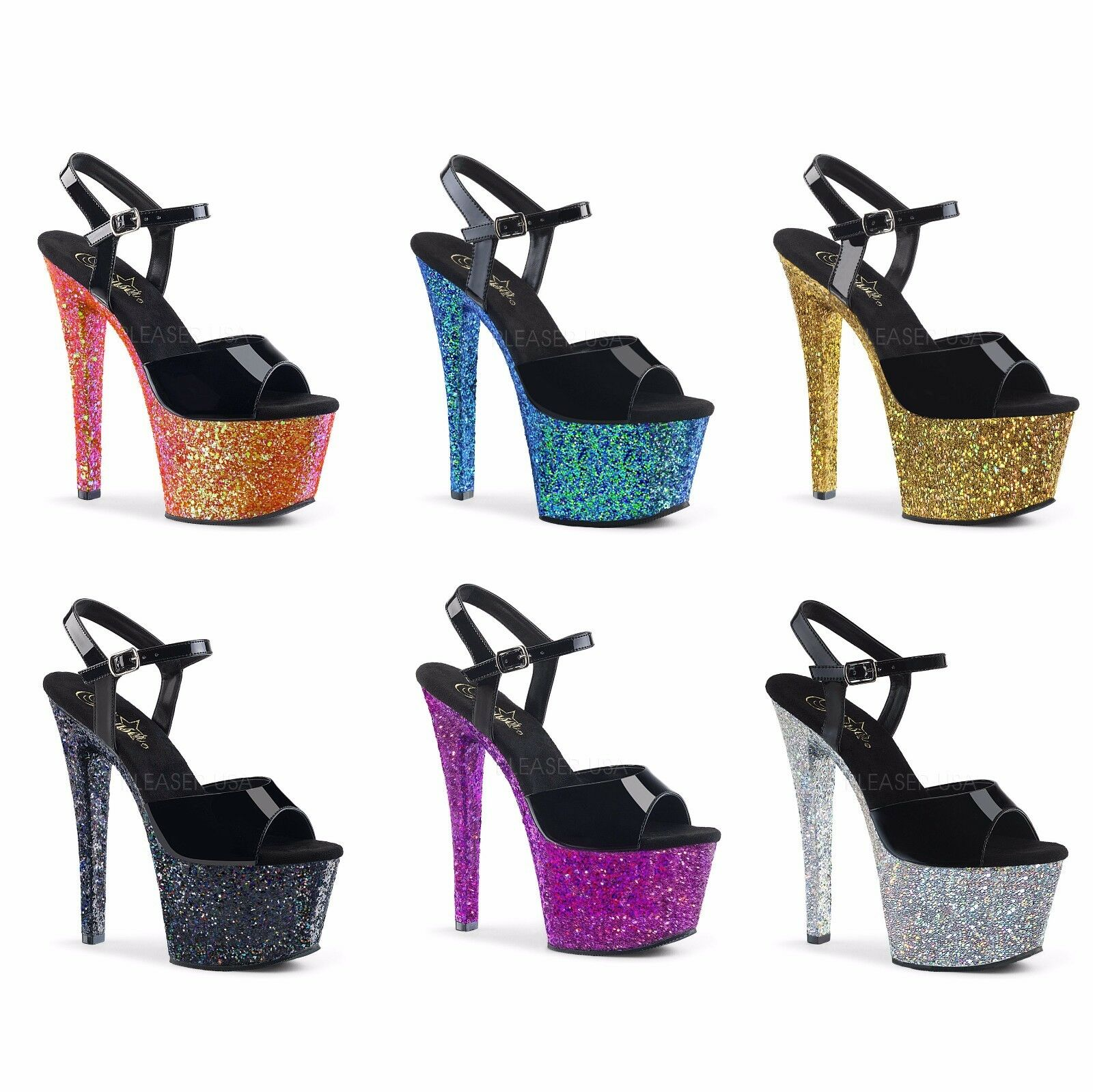 Pleaser SKY-309LG Exotic Dancing Ankle Strap Sandale Holographic Glitters 7