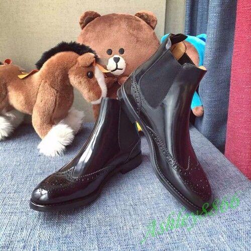 Lo último Nuevo Brogue De Cuero Mujeres botas al Tobillo Zapatos Informales Estilo Oxford Tire De