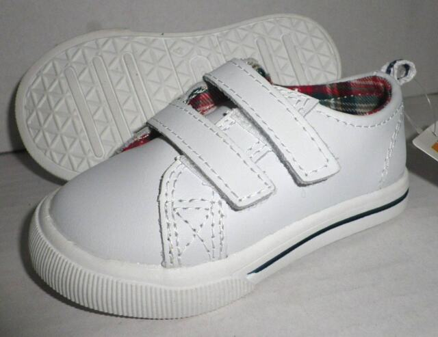 536b236c71bc NWT HEALTHTEX Boys Athletic Leather Strap Sneakers Shoes WHITE Toddler Baby  Sz 4