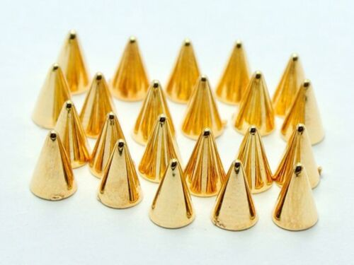 200 Gold Tone Metallic Rock Punk Acrylic Flatback Spike Tiny Stud 4X6mm No Hole