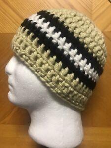 2f51e9d4 Mens TEEN Crochet SKI Hat Beanie Handmade NEW ORLEANS SAINTS CHUNKY ...