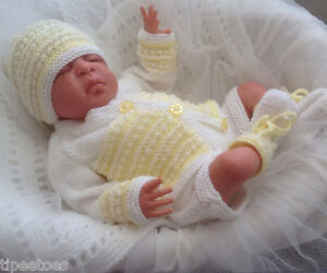 Knitting-Pattern-49-TO-KNIT-Newborn-Reborn-Baby-Cardigan-Hat-Bootees-Trousers