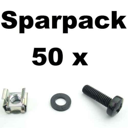 50x Rackschraube M6 x 20 + Unterlegscheiben + Käfigmuttern für Alu Rackschienen