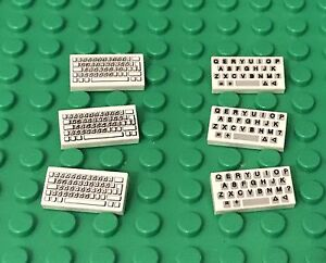 Lego New Mini Figures Computer And Keyboard Tiles Decorated Patterns X3 Sets Lot