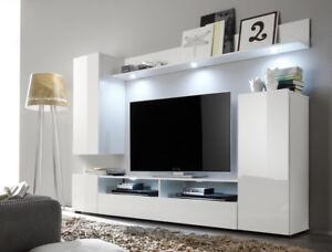 Dettagli su Soggiorno moderno Teseo, composizione mobile porta tv con led,  parete di design
