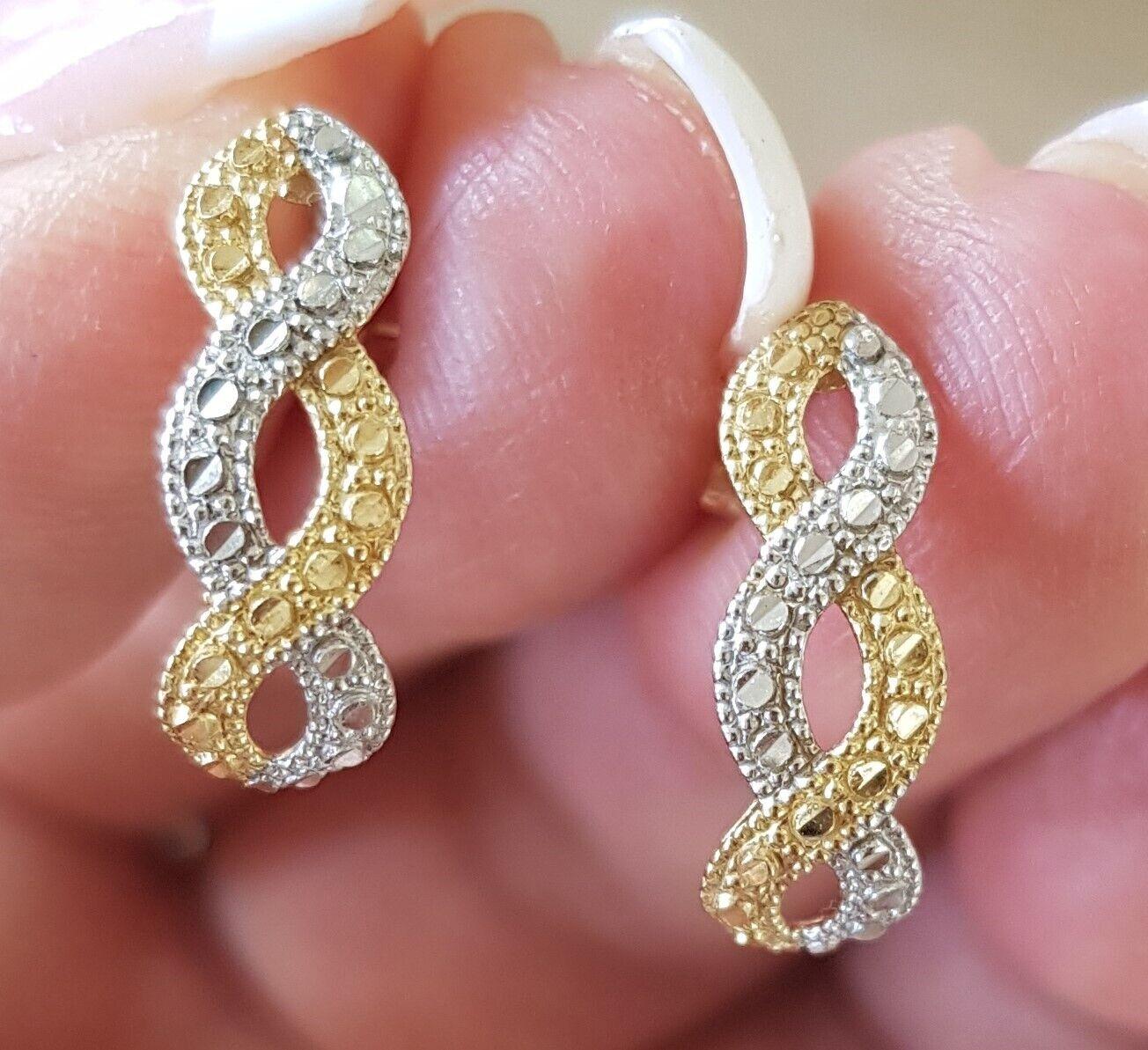 Øreringe, guld, Guld og Hvidguld