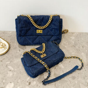 3-Szs-Quilted-Denim-Shoulder-Bag-Gold-amp-Silver-Tone-Metal-Chain-Purse-Crossbody