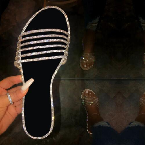 Ladies Summer Open Toe Sandals Women Flats Diamante Sliders Low Heel Shoes Size