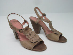 b19f143ce97 Image is loading Anthropologie-Miss-Albright-Taupe-Distressed-Leather- Sandals-Size-