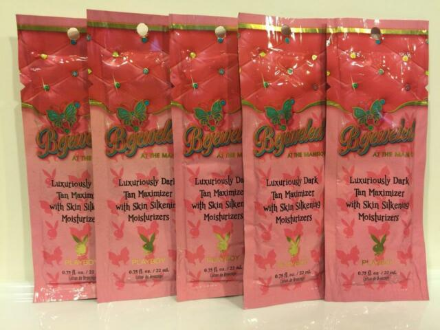 PLAYBOY BEJEWELED AT THE MANSION Indoor Tan Tanning Sample Lotion 5 Packets LOT
