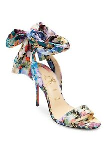 quality design 12905 c97fa Details about Christian Louboutin SANDALE DU DESERT Floral Ankle Tie Bow  Heel Pumps Shoes