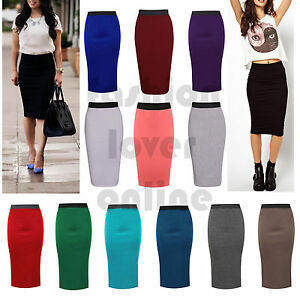 3223c7965fb Details about Womens Ladies Stretch Bodycon Midi Office High Waist Pencil  Plus Size Skirt UK