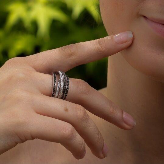 Dolly-Bijoux Bague T50 Rhodié Multi-Rail  Sertie de Diamant Cz Bicolor silver
