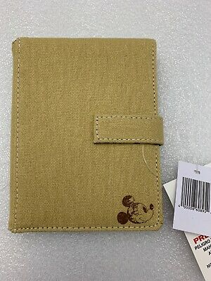 Disney World Parks Attractions Beige Trifold Canvas Wallet Tan Mickey Mouse