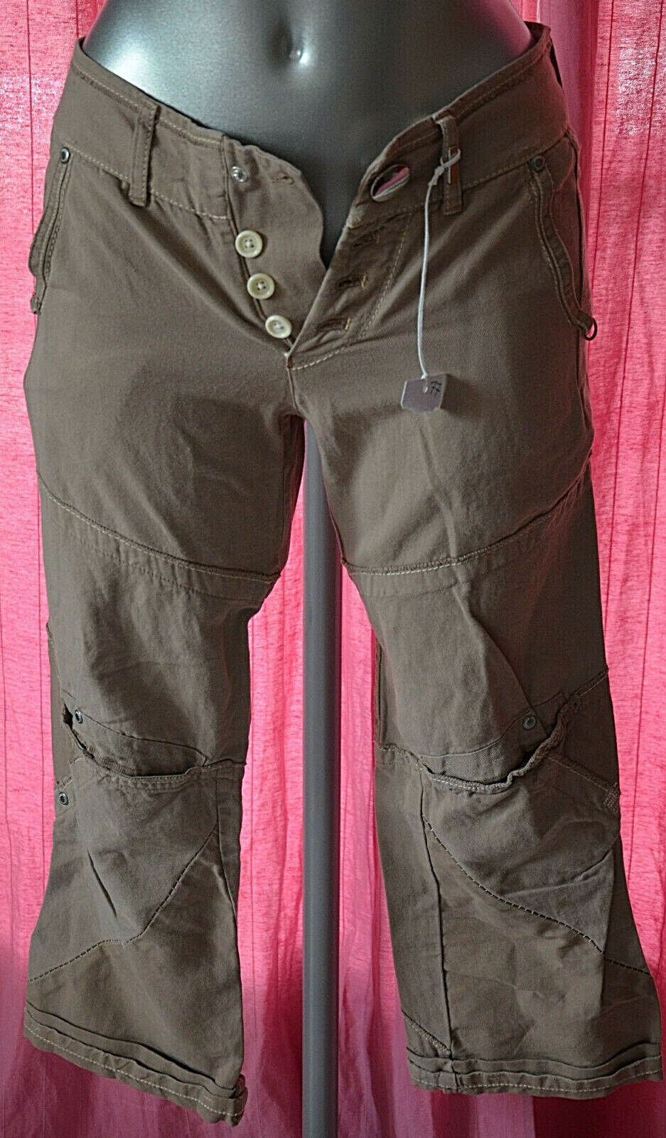 Pantalon 3 4 en lin braun HIGH USE ex GIRBAUD 34 fr 32D W24  modèle vigour NEUF