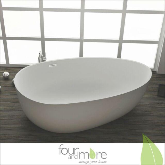 Freistehende Design Badewanne aus Mineralguss 164 x 91 cm inkl. Ab-/ Überlauf