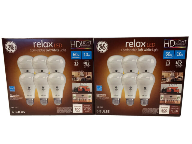GE 6-Pk Relax LED A19 10.5W 2700K Dimmable Soft White Light Bulbs (2) Boxes