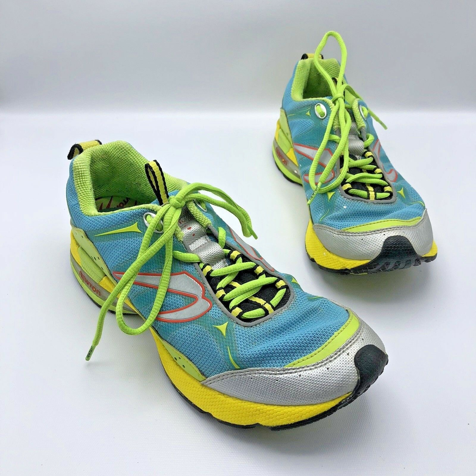 Newton Terra Momentum Women Green bluee Yellow Running shoes Size 10.5 Pre Owned
