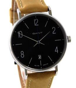 GANT-DETROIT-GT034002-elegante-Herren-Uhr-Datum-Edelstahl-Leder-braun-gt-gt-gt-NEU