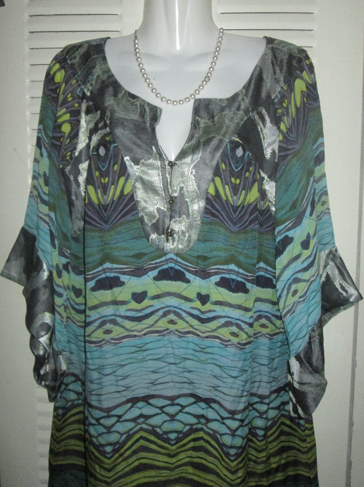 Diane von Furstenberg DVF Tabalah Tunic Dress Printed Silk BATWING BUTTERFLY 2