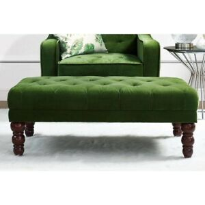 Admirable Details About Vintage Tufted Ottoman Bench Victorian Style Legs Green Foot Rest Footstool New Pabps2019 Chair Design Images Pabps2019Com