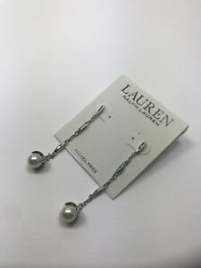 100-Authentic-New-Lauren-By-Ralph-Lauren-Beautiful-Pearl-Drop-Earrings