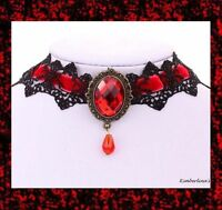 - Black Lace & Red Velvet Victorian Gothic Bronze Choker Pendant Necklace