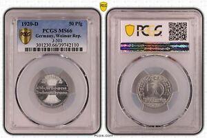 Weimarer Republik 50 Pfennig 1920 D PCGS MS66 51624