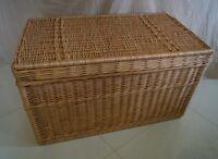 WICKER CHEST STORAGE Trunk Solution Willow Box Lid Toy Blanket Linen Shoe 100cm