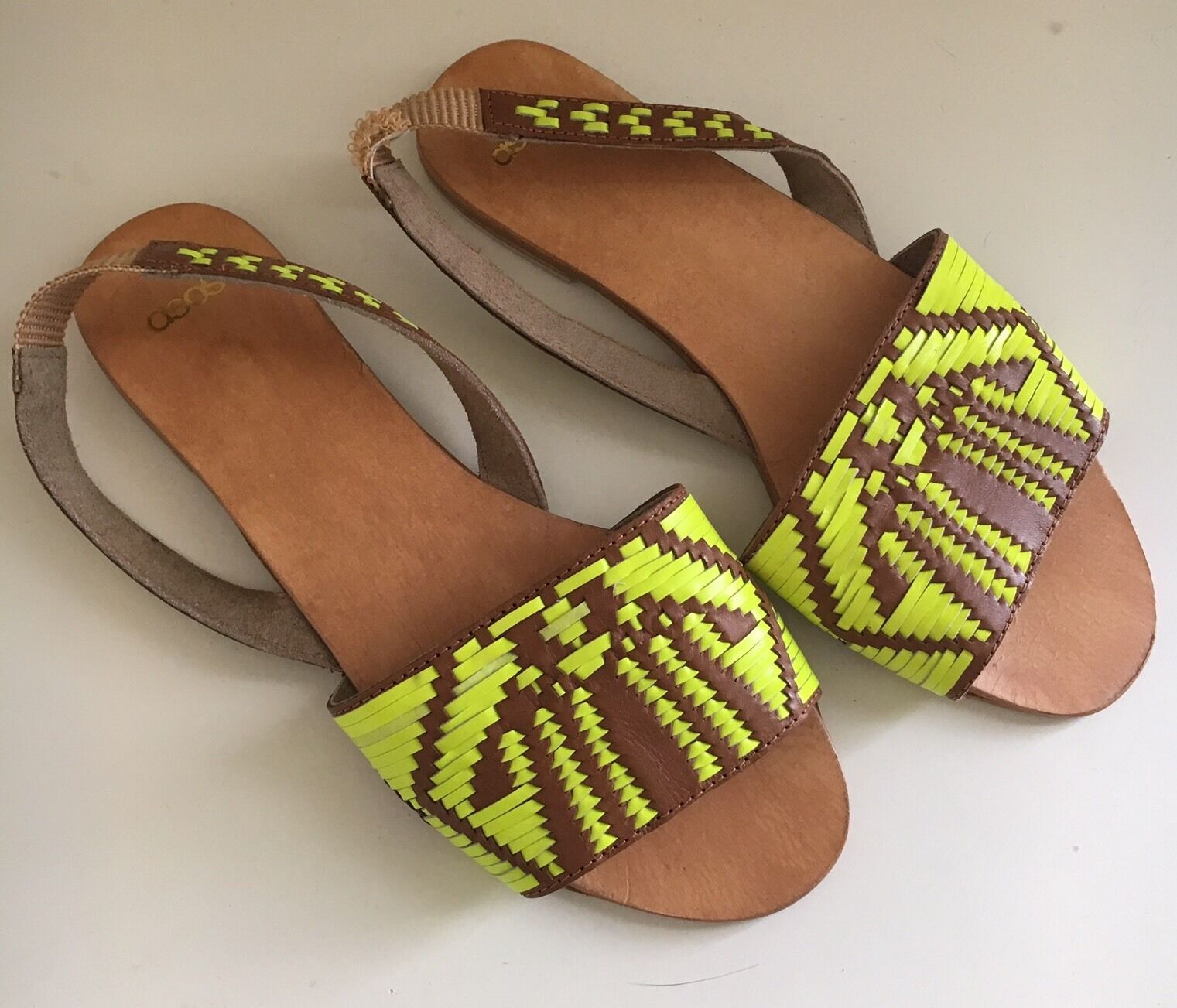 Asos Slingback Woven Sandals US Brown Neon Green Ladies US Sandals 6 Leather c056a3