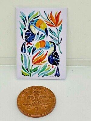 Accesorios hechos a mano miniatura Casa de Muñecas Estilo de LONA pared arte Foto Tucanes