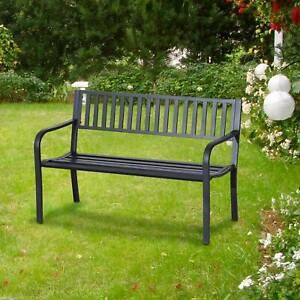 "50"" Garden Bench Patio Steel Chair Seat Black"