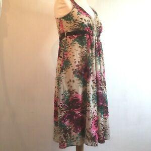 Blooming-Marvellous-Vestido-Reino-Unido-14-Floral-Rosa-Beige-Verano-Fiesta-Boda-Carreras