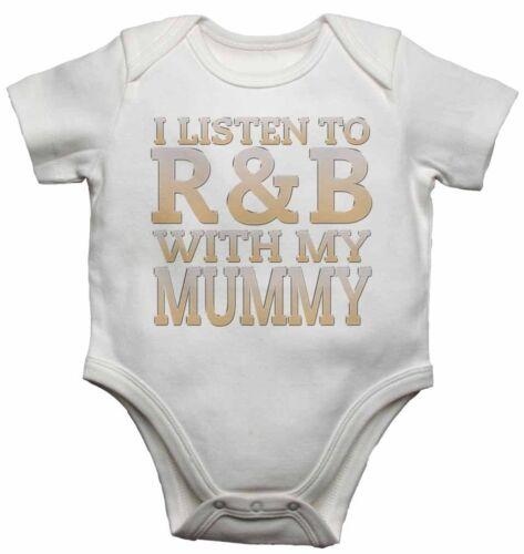 Escucho R/&B con mi mamá-Bebé Chalecos Monos Para Niños Niñas Regalo Presente