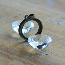 DIY Antique BRONZE  Glass Magnifying Locket Pendant Bubble Picture Frame Charm