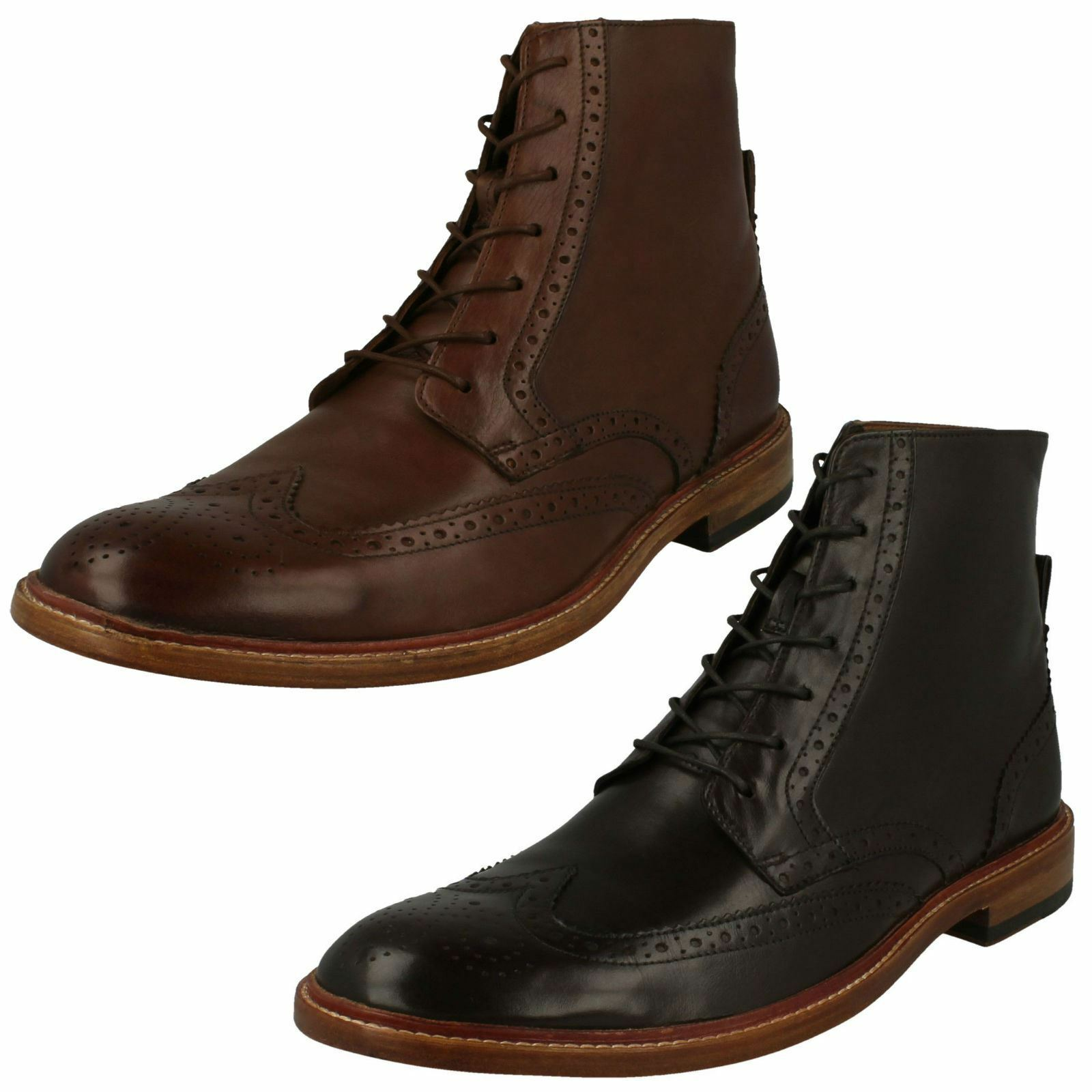 Mens Clarks Stylish Lace-Up Brogue Boots James Hi