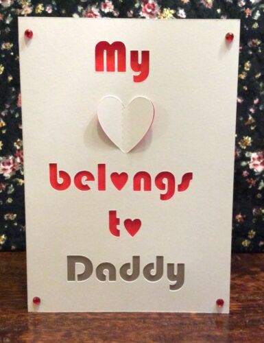 Personalised Fathers Day Card Heart Belongs to Daddy Dada Grandad Papa Pop Taid
