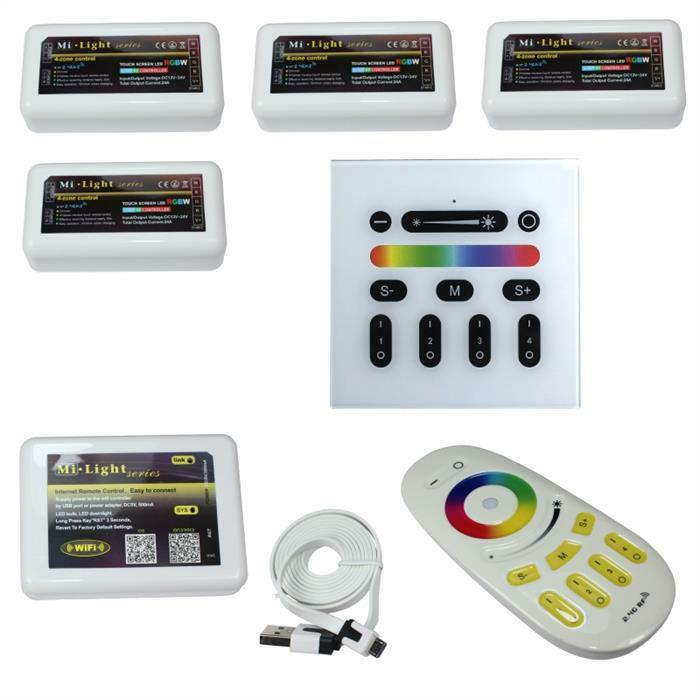 MiLight RGB+W RGBW LED Set - 4-Zone Controller   WLan   RF Fernbedienung   Wand