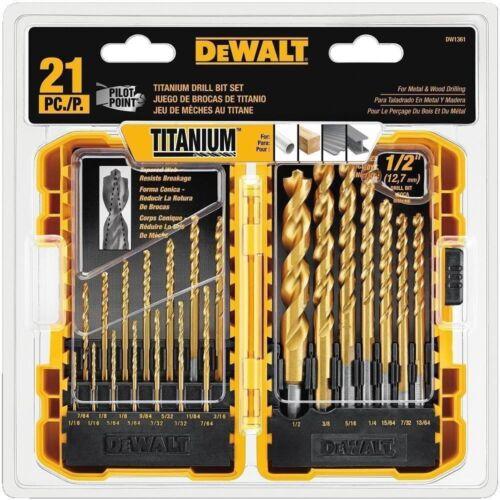 21 Piece DEWALT DW1361 Titanium Pilot Point Drill Bit Set