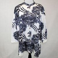 Citron Clothing Poeme Plus Size Black & White Print Silk Blend Blouse 1x