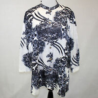 Citron Poeme Clothing Plus Black & White Button Down Silk Blend Blouse 2x