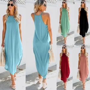 Womens-Summer-T-Shirt-Dress-Tunic-Tops-Beach-Casual-Party-Solid-Maxi-Sundress-US