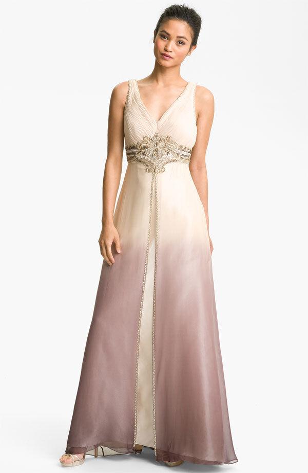 Sue Wong Embellished Ombré Overlay Silk Gown (Größe 2)