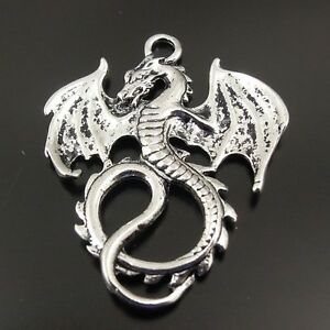 Antique-Silver-Alloy-Winged-Dragons-Pendants-Charms-Findings-Crafts-8pcs-31340