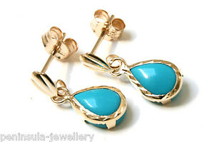 9ct-Gold-Turquoise-D-C-Teardrop-Dangly-Earrings-Made-in-UK-Gift-Boxed
