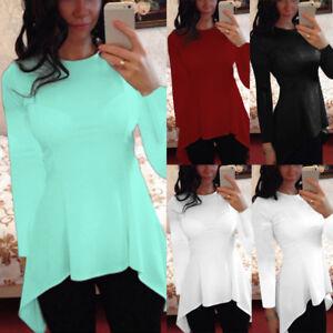 Women-Plus-Size-Peplum-Frill-Tunic-Top-Tee-T-Shirt-Long-Sleeve-Plain-Slim-Blouse