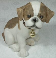 Puppy Figurine w Bell English Bulldog 9319844338684 DOGPUP8 Poly Resin NEW