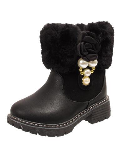 Girls Kids Infants Warm Fur Lined Collar Black Flower Pearl Fashion Ankle Boots